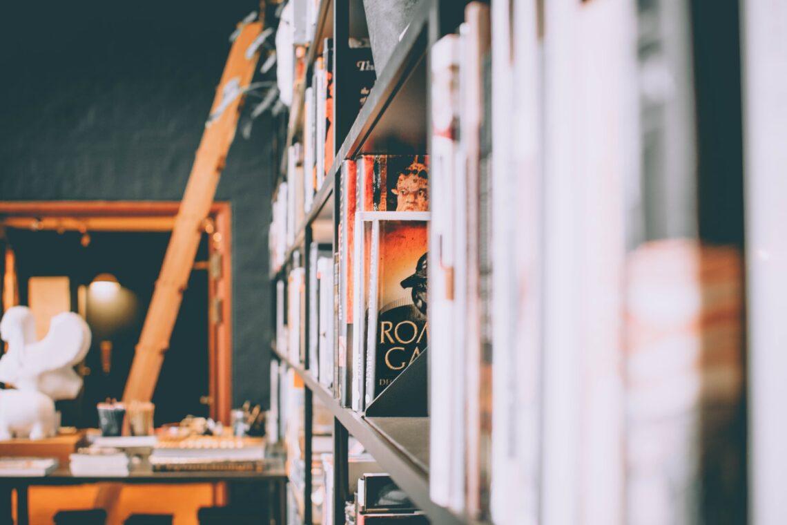 uno scaffale di libri