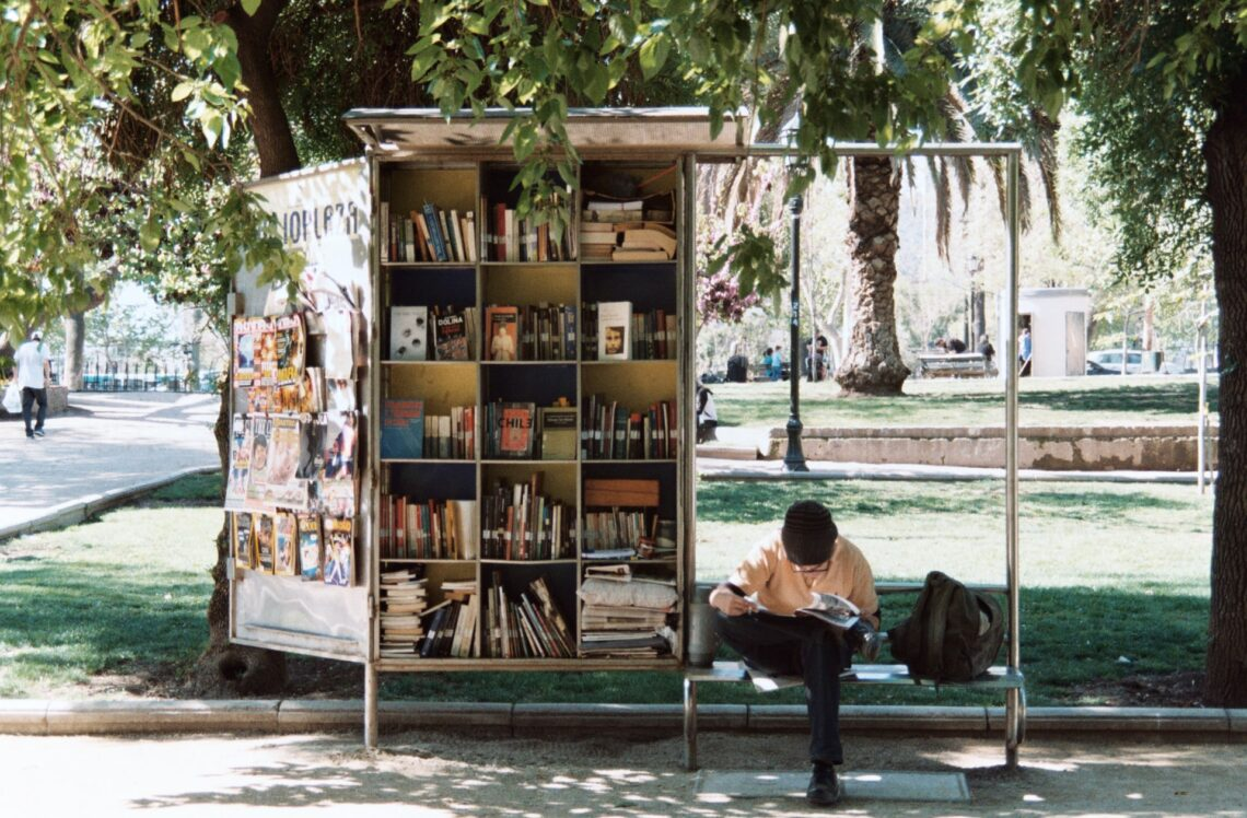 un ragazzo legge su una panchina