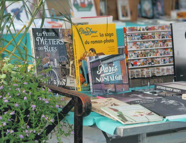 una bancarella di libri in francese